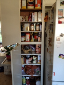stocked pantry with 8 shelves